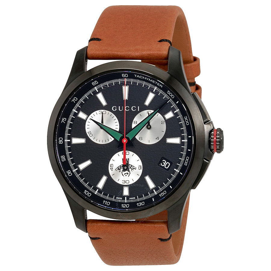 f4677d651d7 Gucci G-Timeless Black Dial Men s Chronograph Leather Watch YA126271 ...