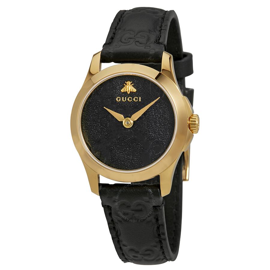 94118c2f6360 Gucci G-Timeless Black Dial Black Leather Ladies Watch YA126581 - G ...