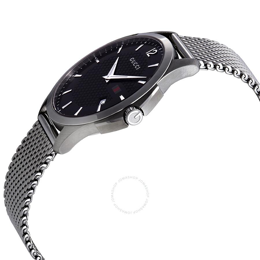 fcfebfa9140 ... Gucci G Timeless Black Dial Stainless Steel Mesh Men s Watch YA126308  ...