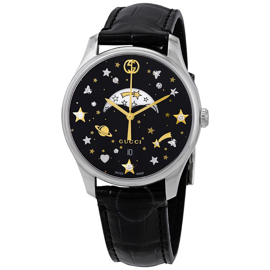 73f3fcb0826 Gucci G-Timeless Black Diamonds Dial Ladies Moonphase Watch YA1264091 ...