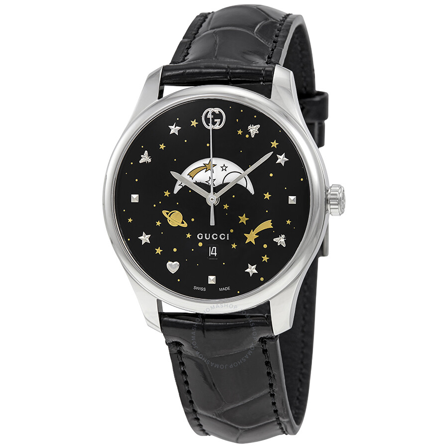 357c6e9a72b Gucci G-Timeless Black Motifs Dial Moonphase Watch YA126327 - G ...