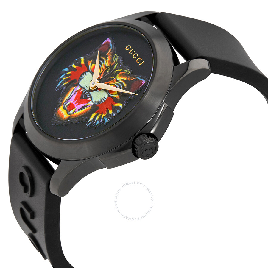 ae025f2b61e ... Gucci G-Timeless Black with Cat Motif Dial Men s Rubber Watch YA1264021  ...