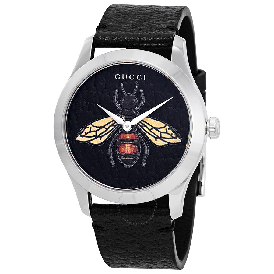 42253542119 Gucci G-Timeless Black Dial with an Embroidered Honeybee Ladies Watch  YA1264067 ...