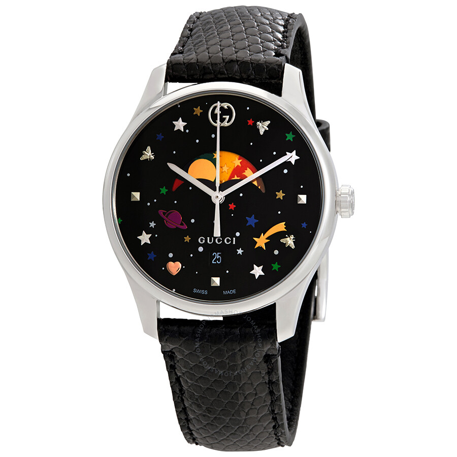 af2ce3878cd Gucci G-Timeless Black with Stars and Planet Moonphase Dial Ladies Watch  YA1264045 ...