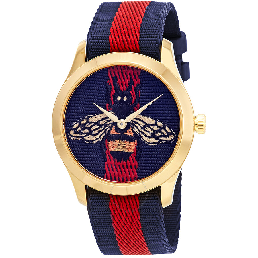 70214ab25ff Gucci G-Timeless Blue and Red Dial wth an Embroidered Bee Ladies Watch  YA1264061 ...