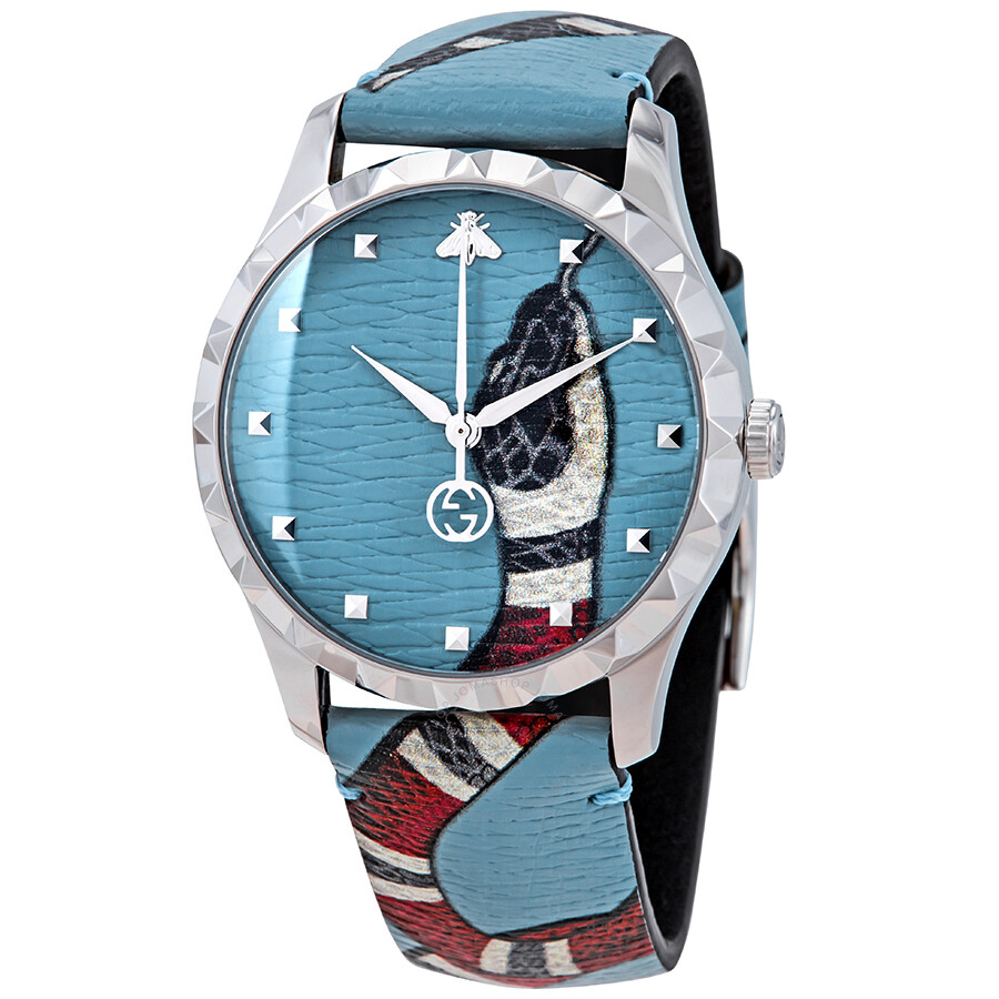 c06ed9c9b1c Gucci G-Timeless Blue with Kingsnake Head Print Dial Leather Watch  YA1264080 ...