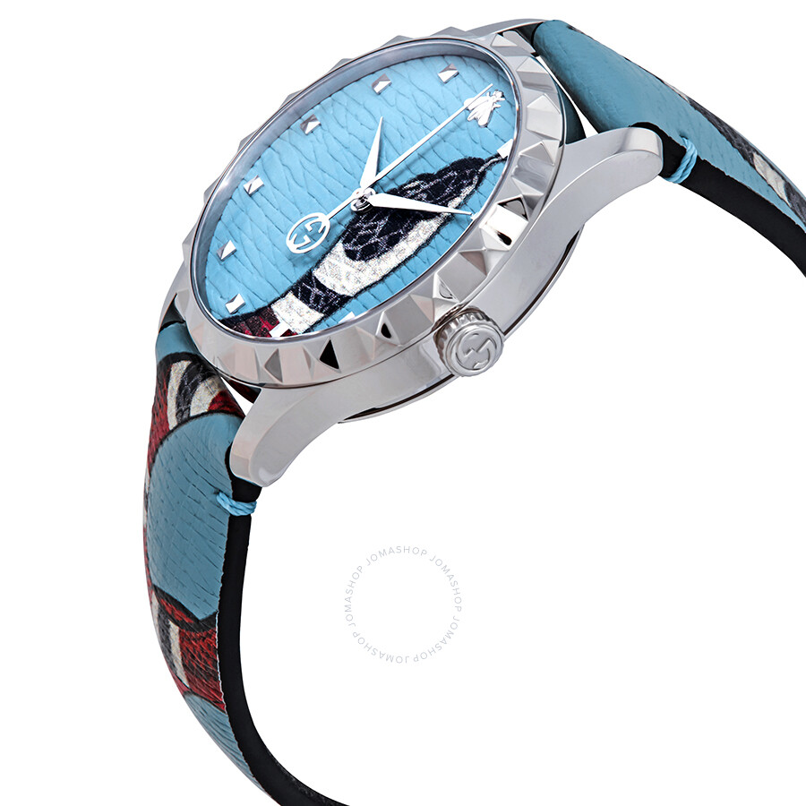 f5e97ce9def ... Gucci G-Timeless Blue with Kingsnake Head Print Dial Leather Watch  YA1264080 ...