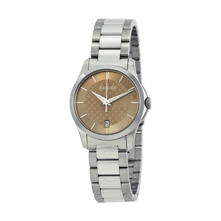 3ae887aaeca Gucci G-Timeless Brown Dial Stainless Steel Ladies Watch
