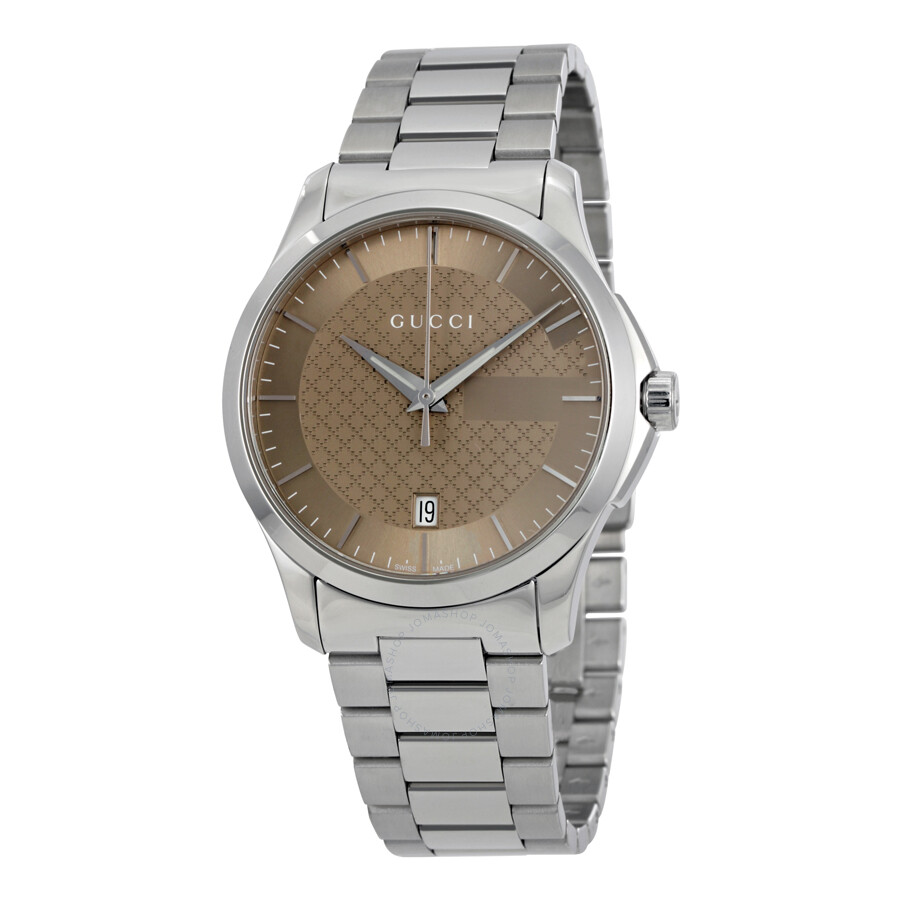 bbabed16b3a Gucci G-Timeless Brown Dial Stainless Steel Unisex Watch YA126445 ...