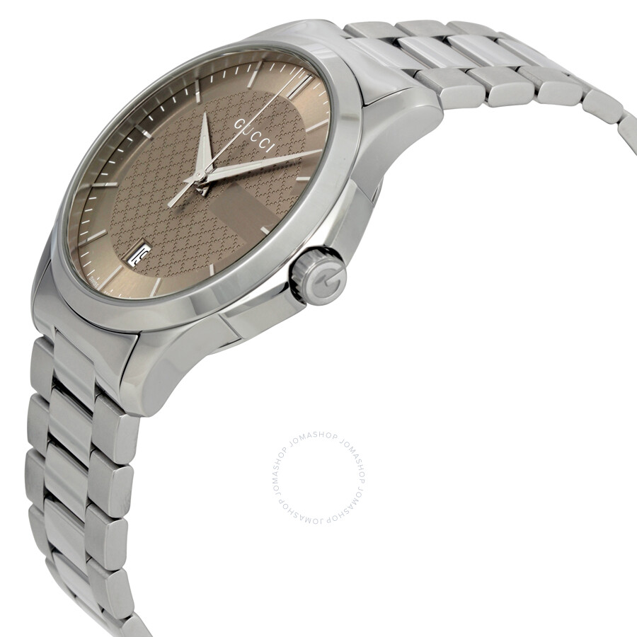 cd7128cf6ed ... Gucci G-Timeless Brown Dial Stainless Steel Unisex Watch YA126445 ...