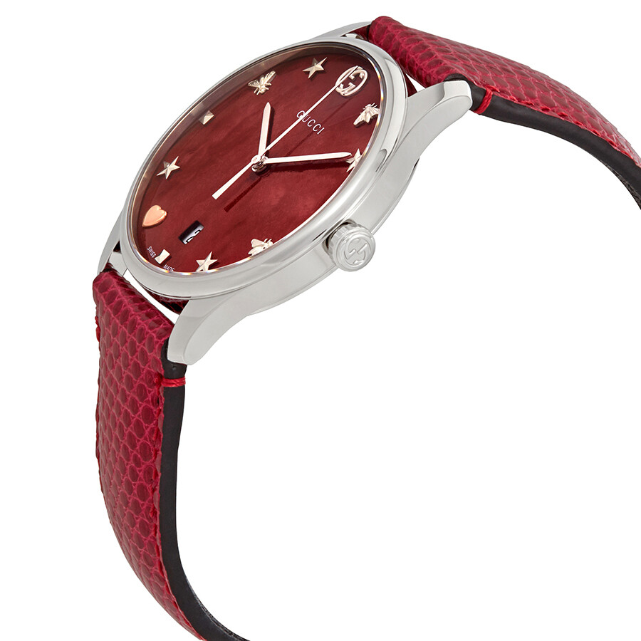 6a7033050a3 ... Gucci G-Timeless Cherry Red Mother of Pearl Dial Ladies Leather Watch  YA1264041 ...