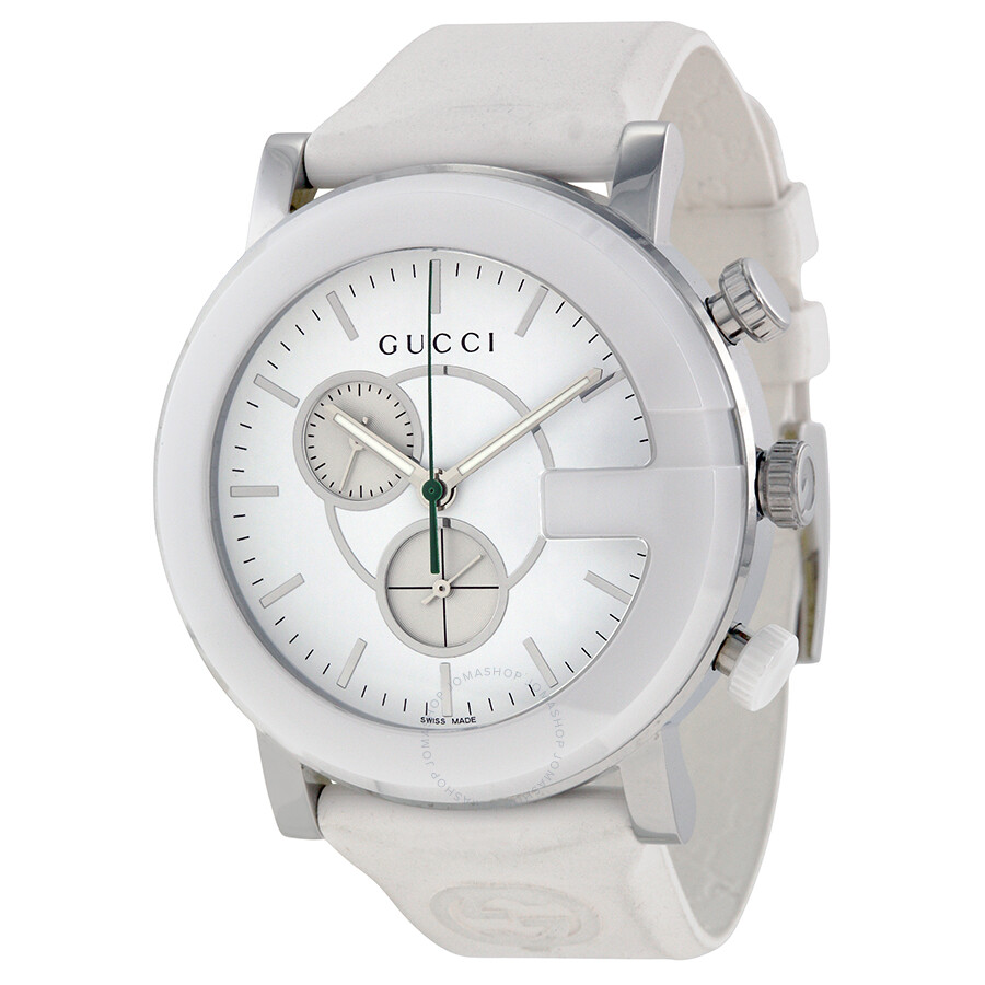 26b8af8898c Gucci G-Timeless Chronograph White Dial White Rubber Strap Men s Watch  YA101346 ...