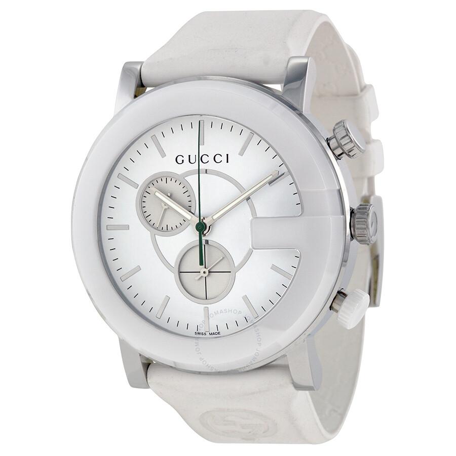 gucci gtimeless chronograph white dial white rubber strap