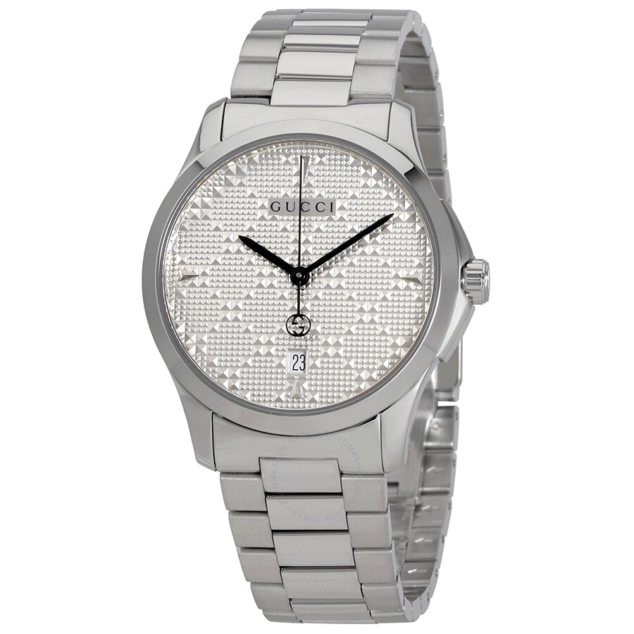 7a4dfefe6fc Gucci G-Timeless Diamante Silver Dial Ladies Watch
