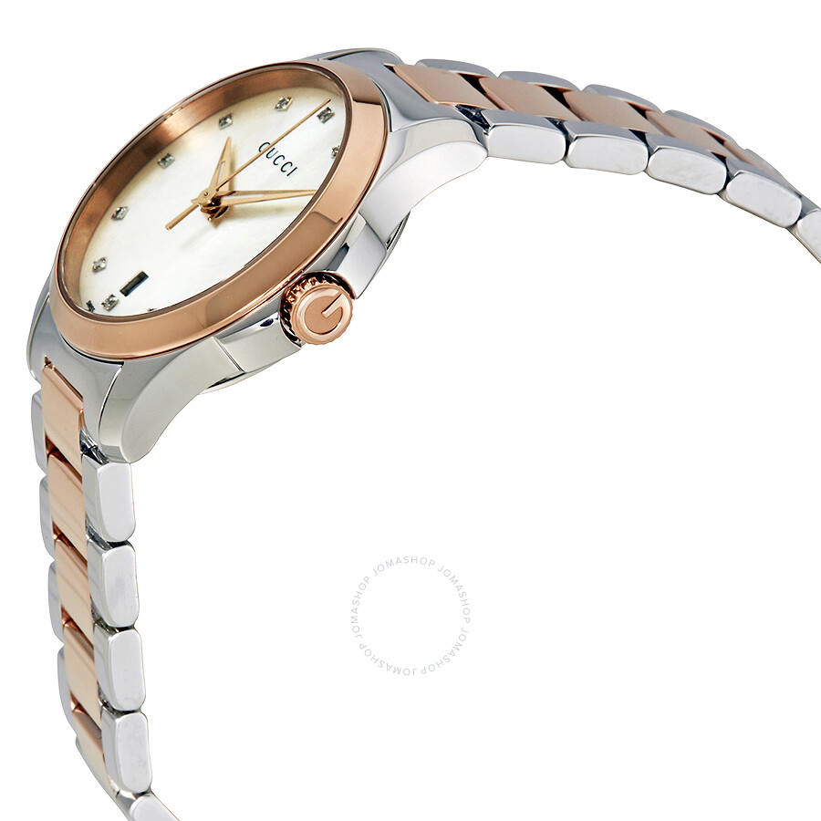 d1c3b64c070 ... Gucci G-Timeless Diamond Mother of Pearl Dial Ladies Watch YA126544 ...
