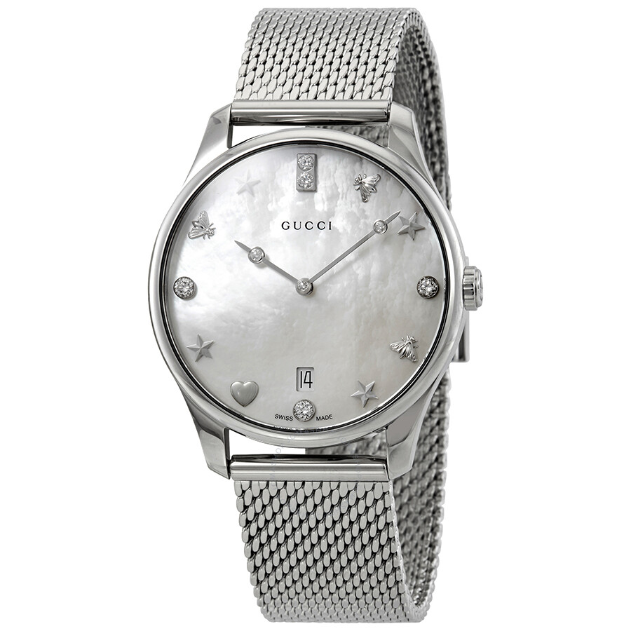 84400f07034 Gucci G-Timeless Diamond White Mother of Pearl Dial Ladies Watch YA1264094  ...