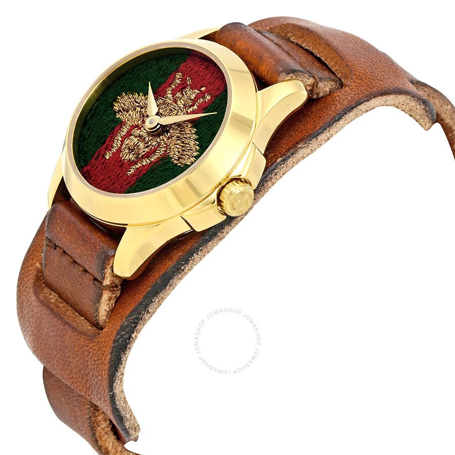 b29920ec9cd Gucci G-Timeless Green and Red Nylon Dial Ladies Watch YA126547 - G ...