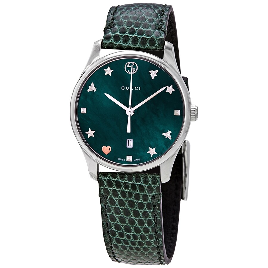 d21aabd0a6 Gucci G-Timeless Green Mother of Pearl Dial Ladies Watch YA126585 ...