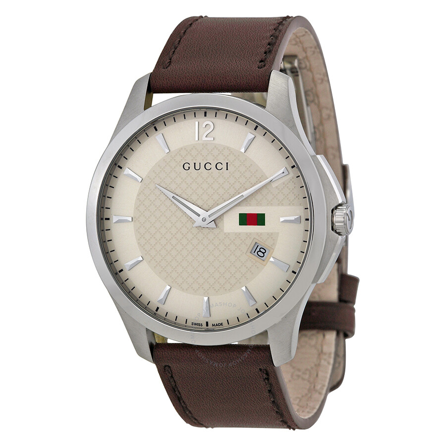 gucci g timeless ivory dial brown leather strap men s watch gucci g timeless ivory dial brown leather strap men s watch ya126303