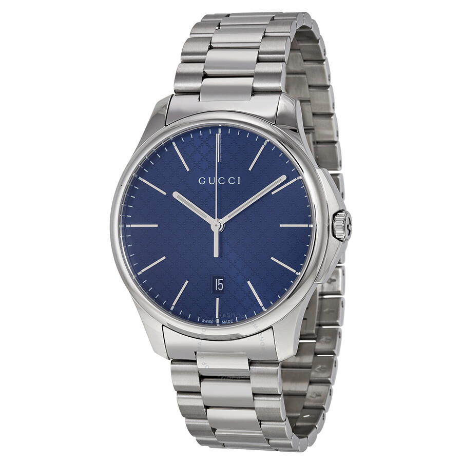05947a2db84 Gucci G-Timeless Large Blue Diamond Pattern Dial Stainless Steel Men s  Watch YA126316 ...
