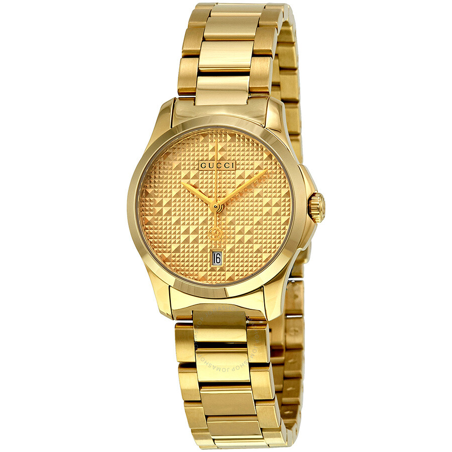 0985988f600 Gucci G-Timeless Light Yellow Gold PVD Steel Ladies Watch YA126553 ...