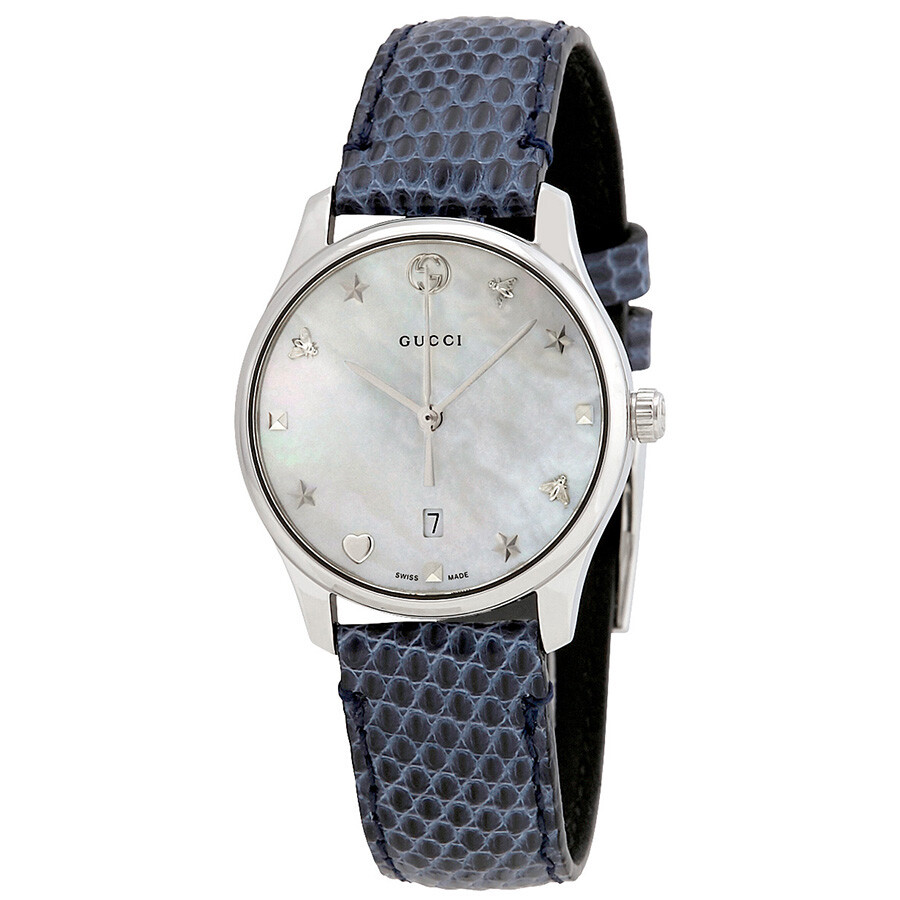 47b3ea25db0 Gucci G-Timeless Mother of Pearl Dial Ladies Leather Watch YA126588 ...