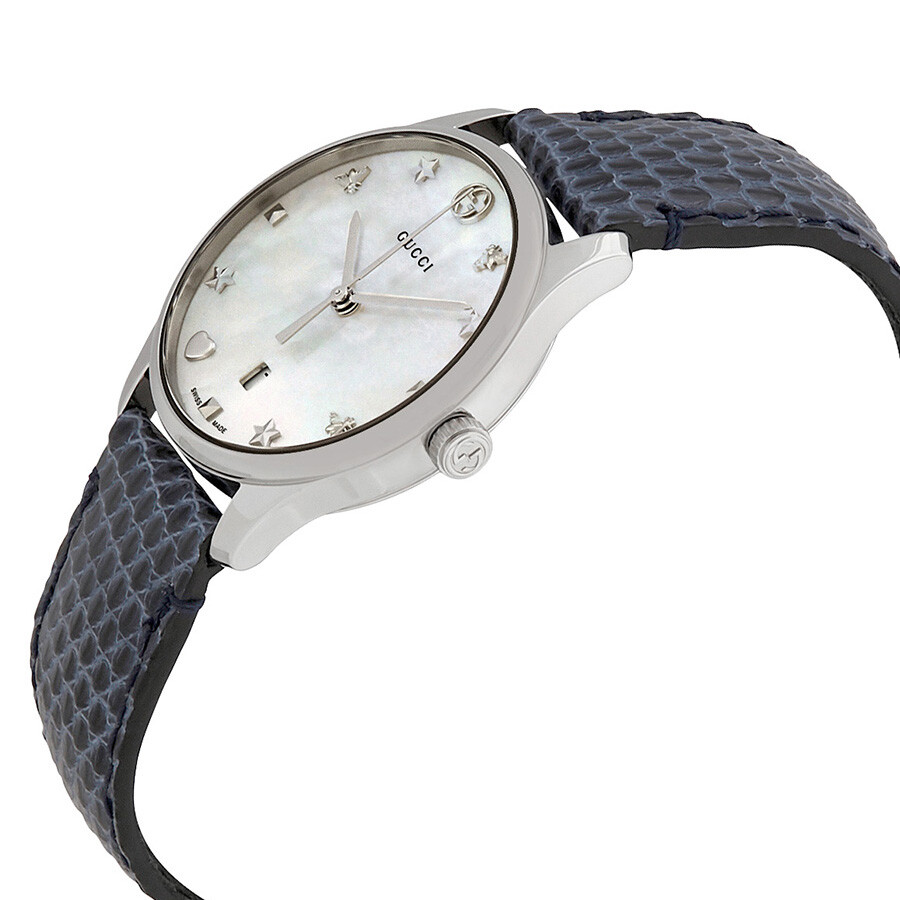 26bfa44497b Gucci G-Timeless Mother of Pearl Dial Ladies Leather Watch YA126588 .