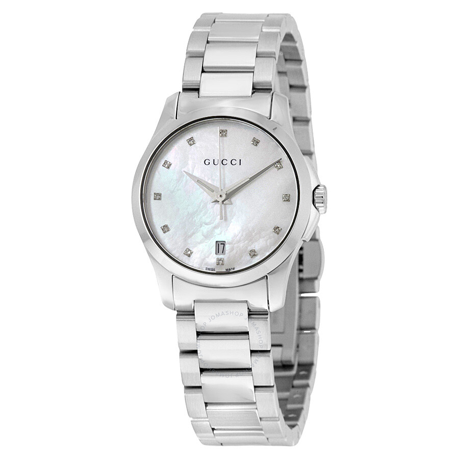 Gucci g timeless mother of pearl diamond dial ladies watch ya126542 g timeless gucci for Pearl watches