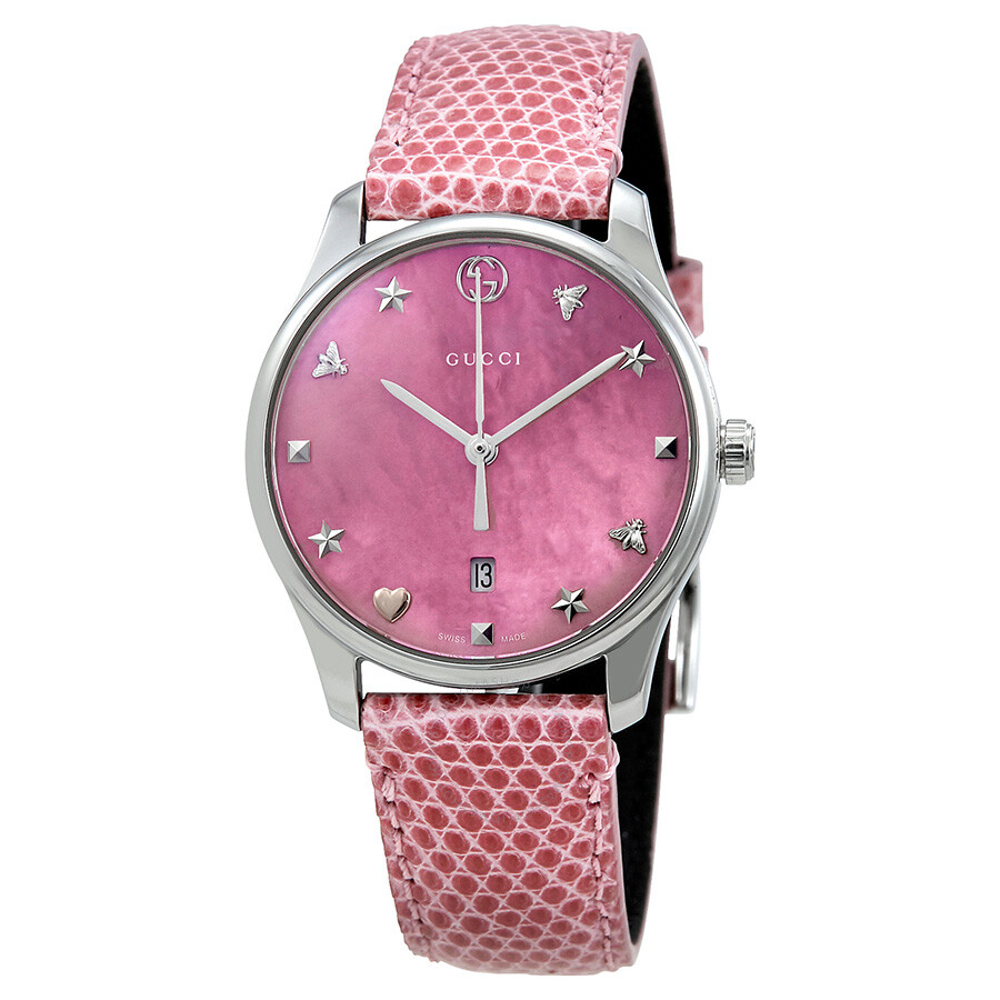 513191ae80e Gucci G-Timeless Pink Mother of Pearl Dial Ladies Watch YA126586 - G ...