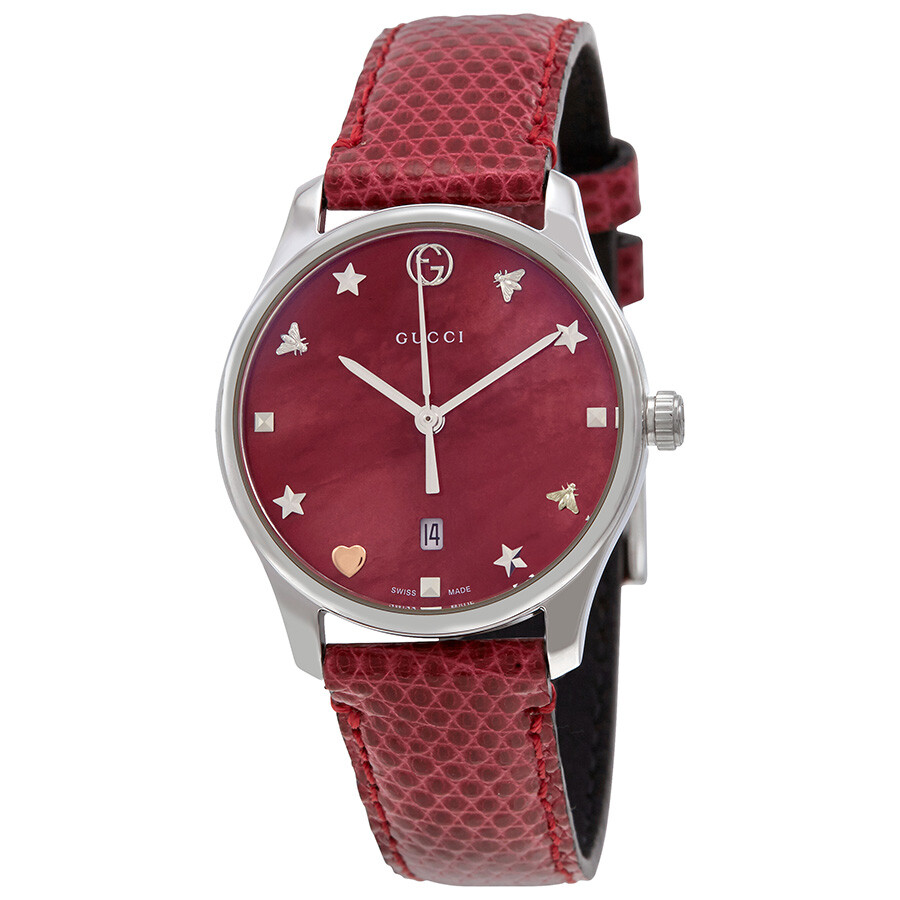b0e642082dc Gucci G-Timeless Red Mother of Pearl Dial Ladies Leather Watch YA126584 ...