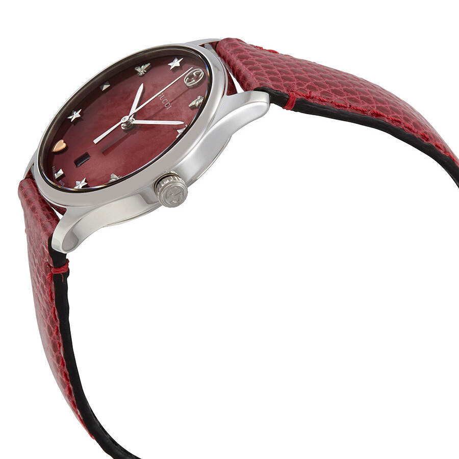 48db538d0fb ... Gucci G-Timeless Red Mother of Pearl Dial Ladies Leather Watch YA126584  ...