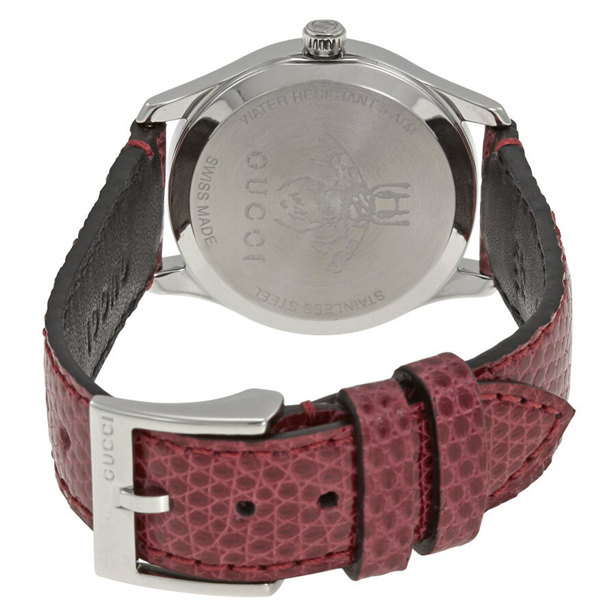 b0902e93de4 ... Gucci G-Timeless Red Mother of Pearl Dial Ladies Leather Watch YA126584