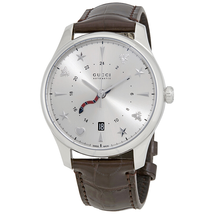 9dd25dcc1a7 Gucci G-Timeless Silver Dial Automatic GMT Men s Leather Watch YA126332 ...