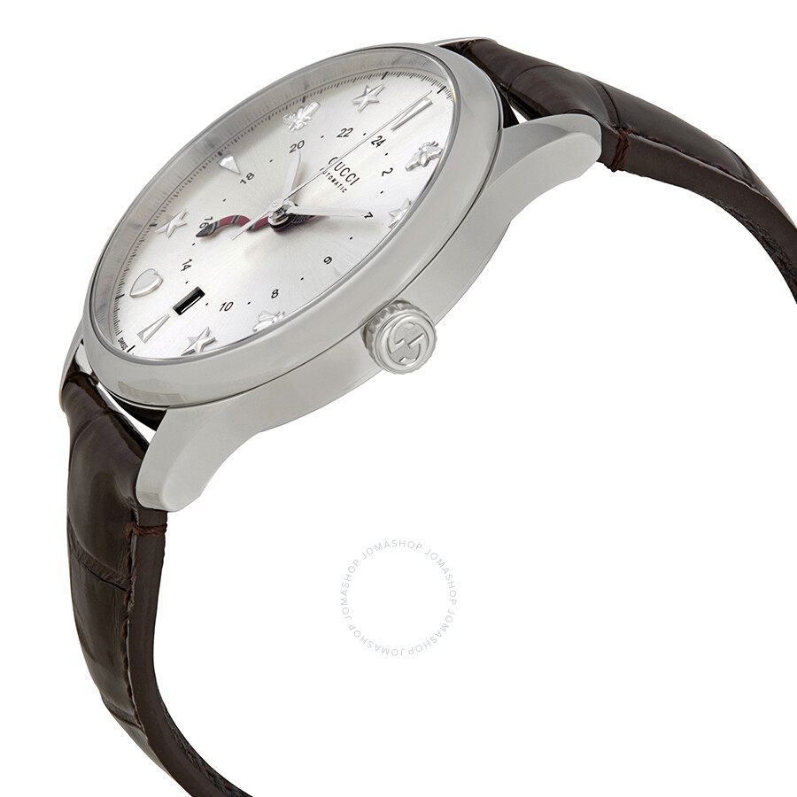 df2a6659e5b ... Gucci G-Timeless Silver Dial Automatic GMT Men s Leather Watch YA126332  ...