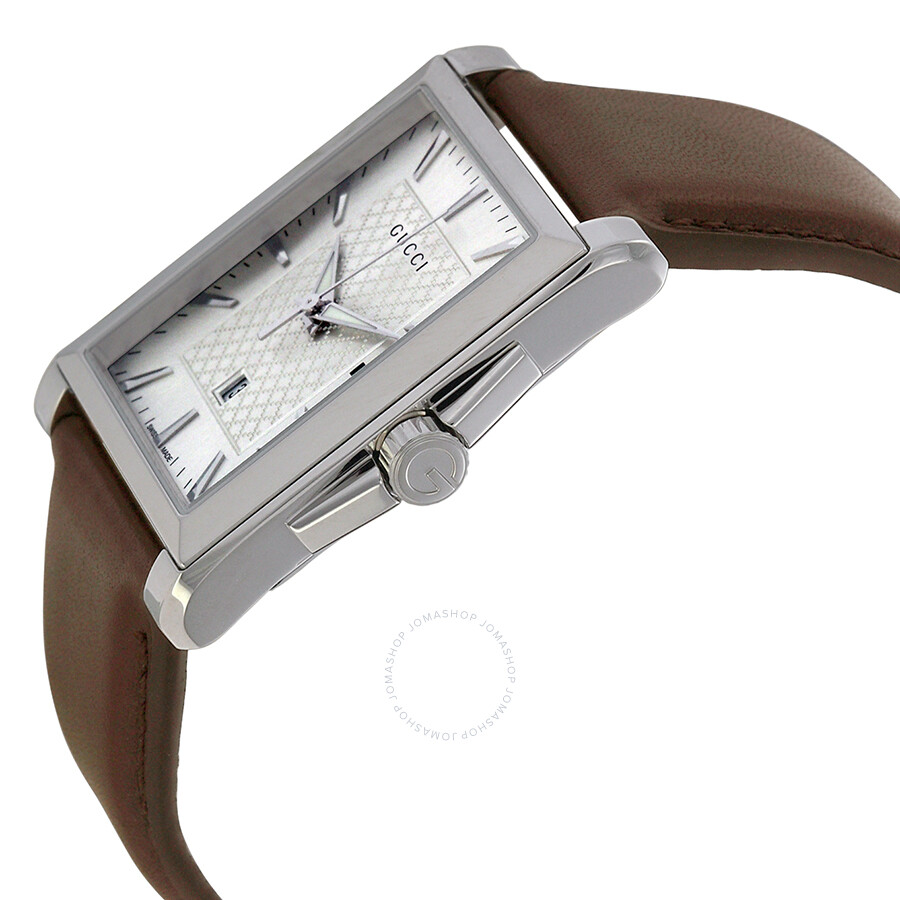 4096f84e420 Gucci G-Timeless Silver Dial Brown Leather Mess Watch YA138405 - G ...
