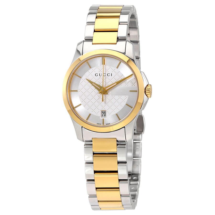 4960f6606dc Gucci G-Timeless Silver Dial Ladies Two Tone Watch YA126563 - G ...
