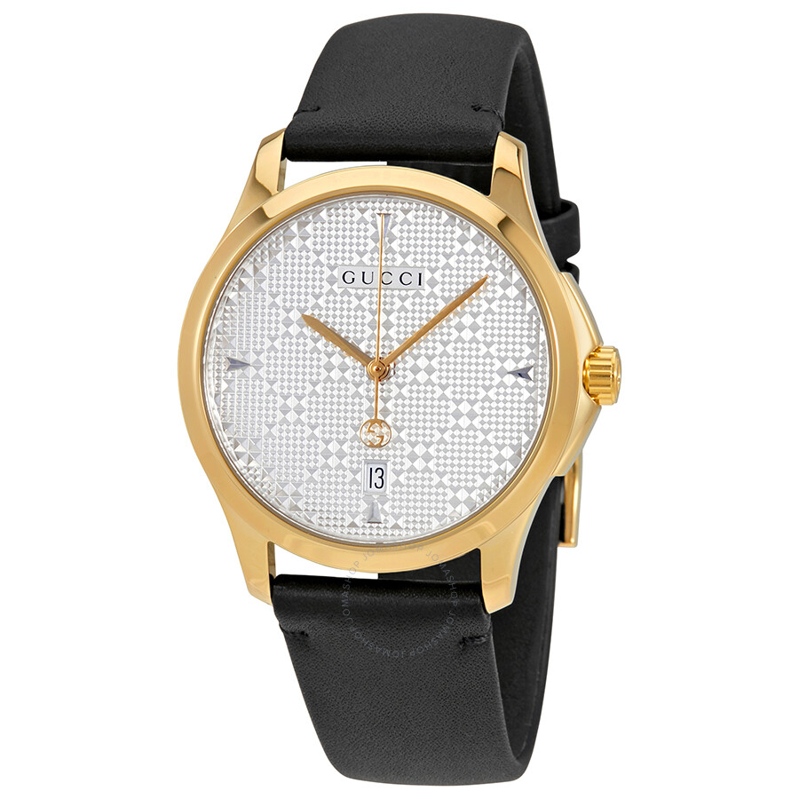3ab5d753491 Gucci G-Timeless Silver Dial Black Leather Men s Watch YA1264027 - G ...