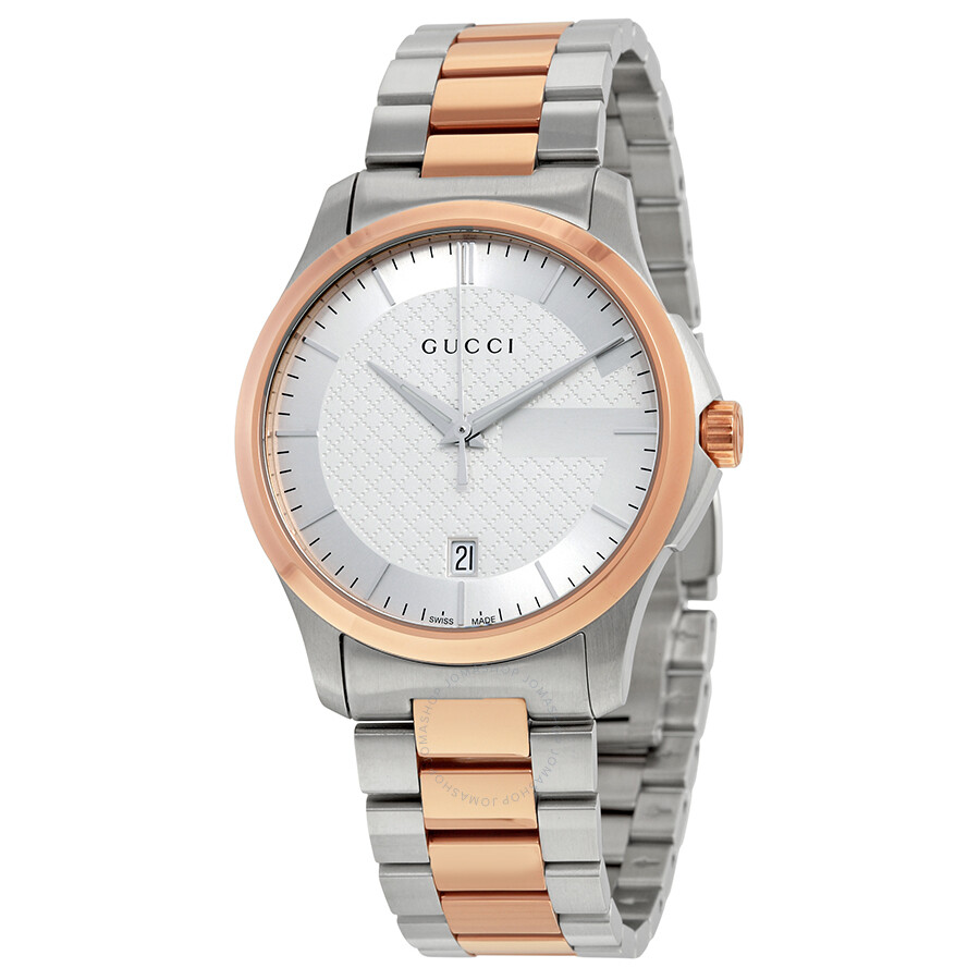 gucci g timeless silver stainless steel and pink gold