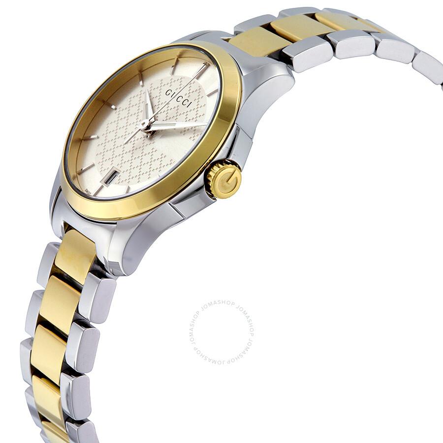 3bd87305d0 ... Gucci G-Timeless Silver Dial Two-tone Ladies Watch YA126531 ...