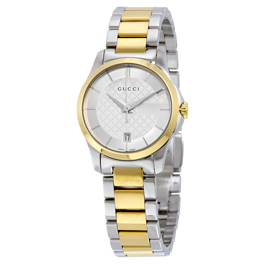 e31bbd4c8ca Gucci G-Timeless Silver Dial Two-tone Ladies Watch YA126531 - G ...
