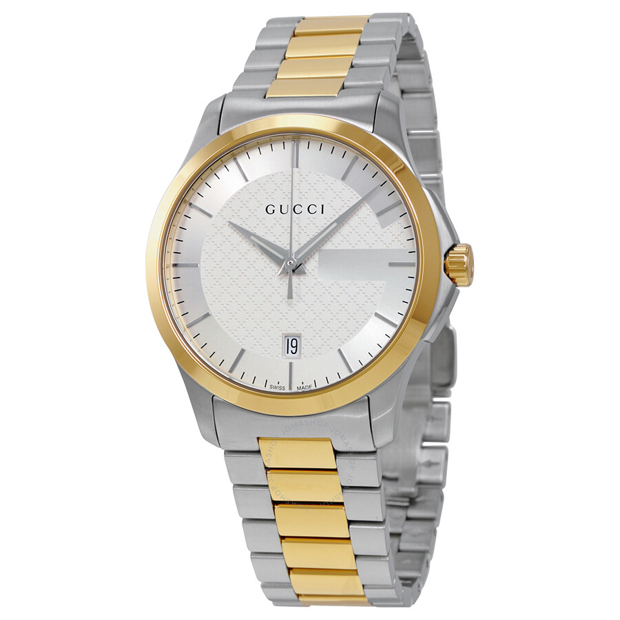0cf552b26a7 Gucci G-Timeless Silver Dial Two Tone Stainless Steel Unisex Watch YA126450  ...