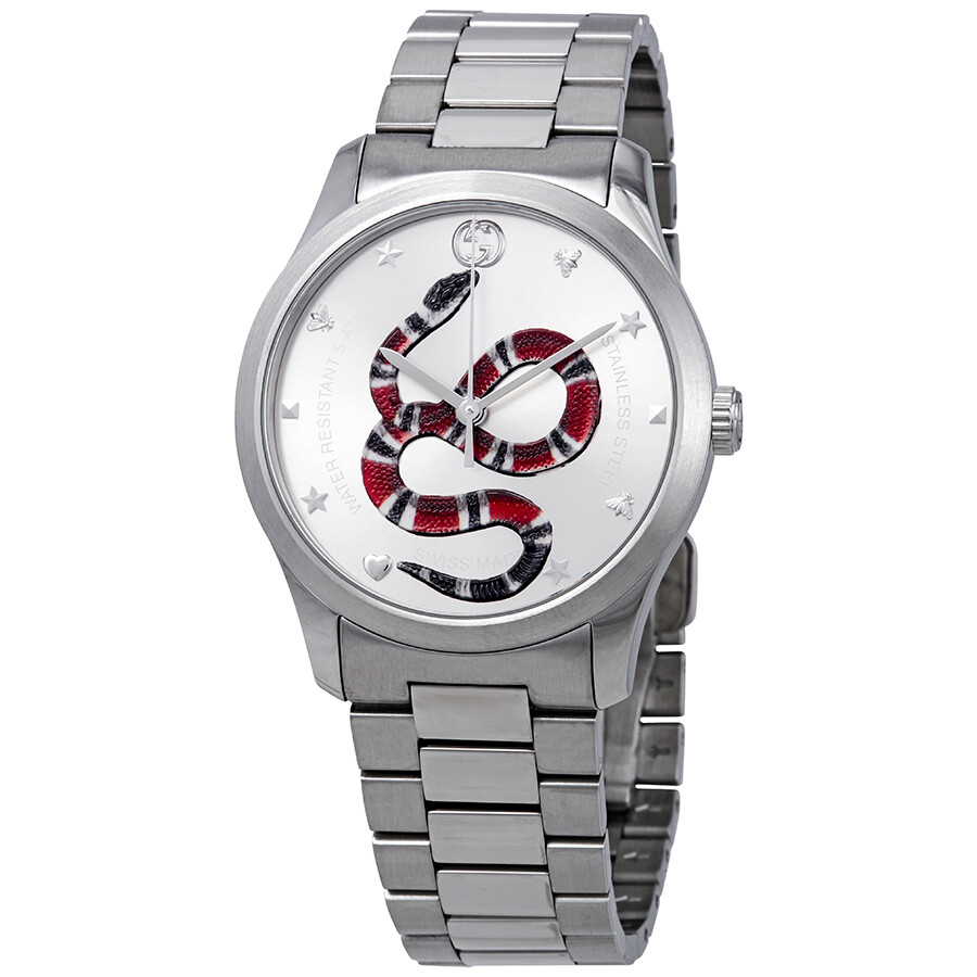 b4bb97206f9 Gucci G-Timeless Silver with Snake Motif Dial Stainless Steel Watch  YA1264076 ...