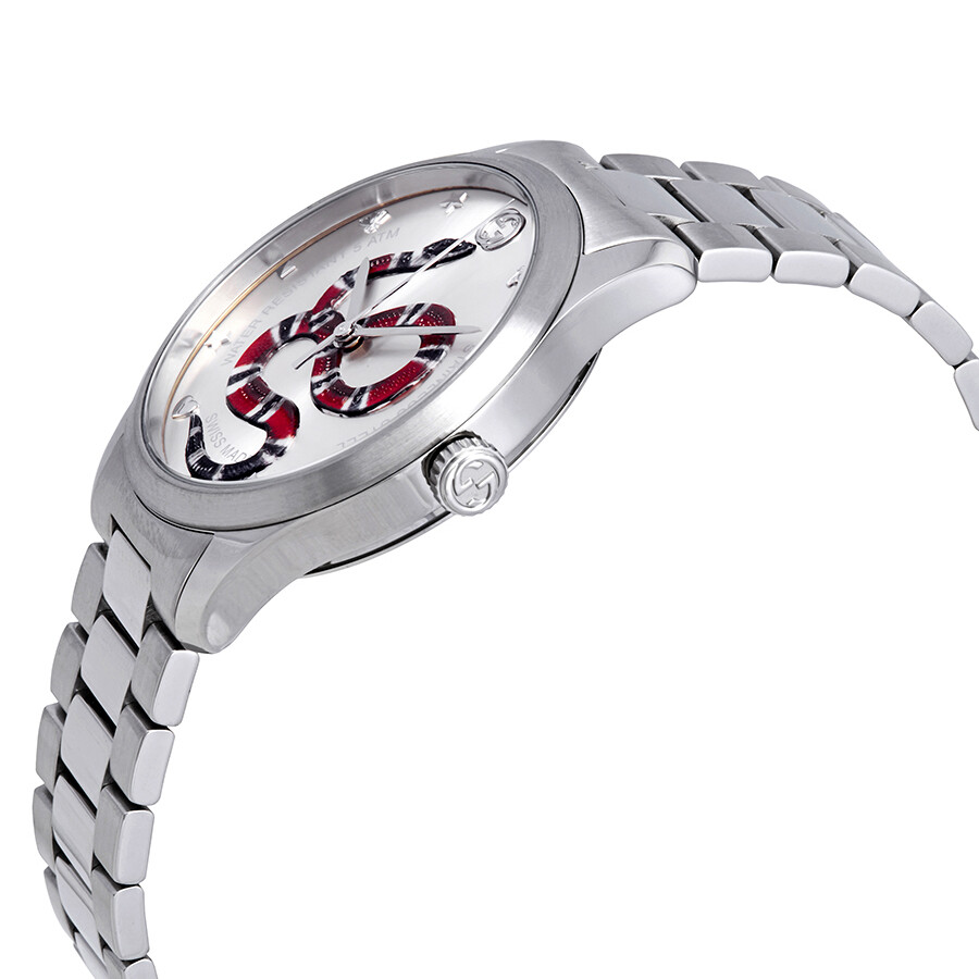a703ed1c45d ... Gucci G-Timeless Silver with Snake Motif Dial Stainless Steel Watch  YA1264076 ...