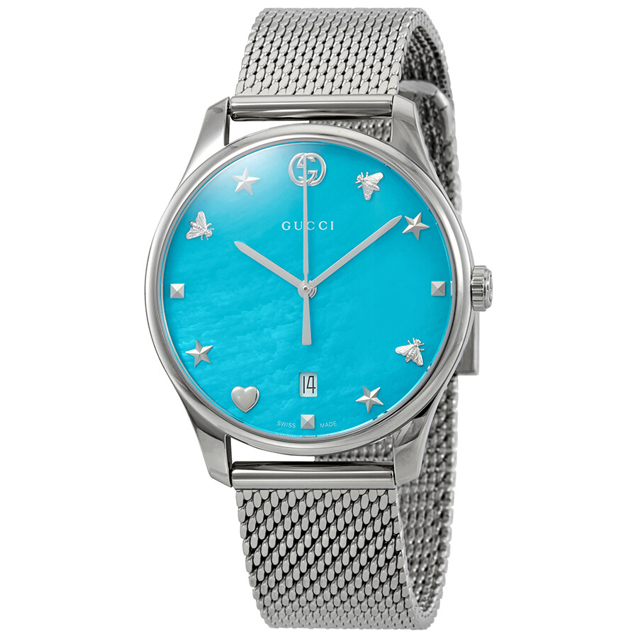 5bd48c0449d Gucci G-Timeless Turquiose Mother of Pearl Dial Ladies Mesh Watch YA1264039  ...