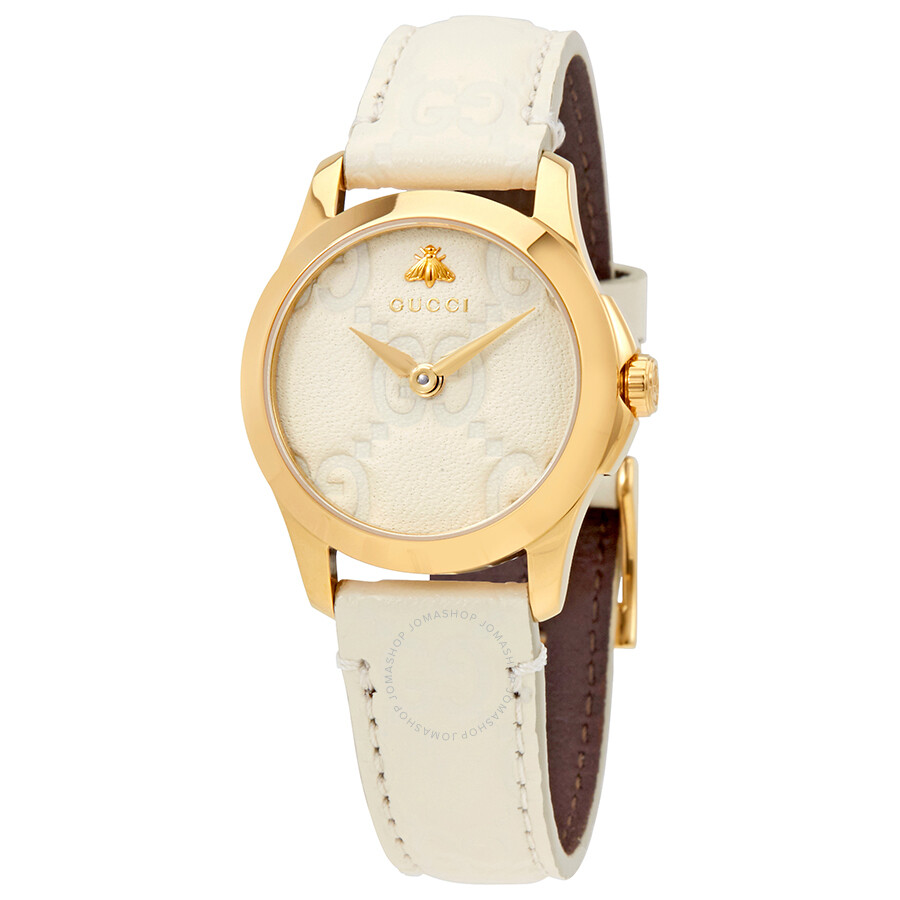 9a2635cc1 Gucci G-Timeless White Dial Ladies Leather Watch