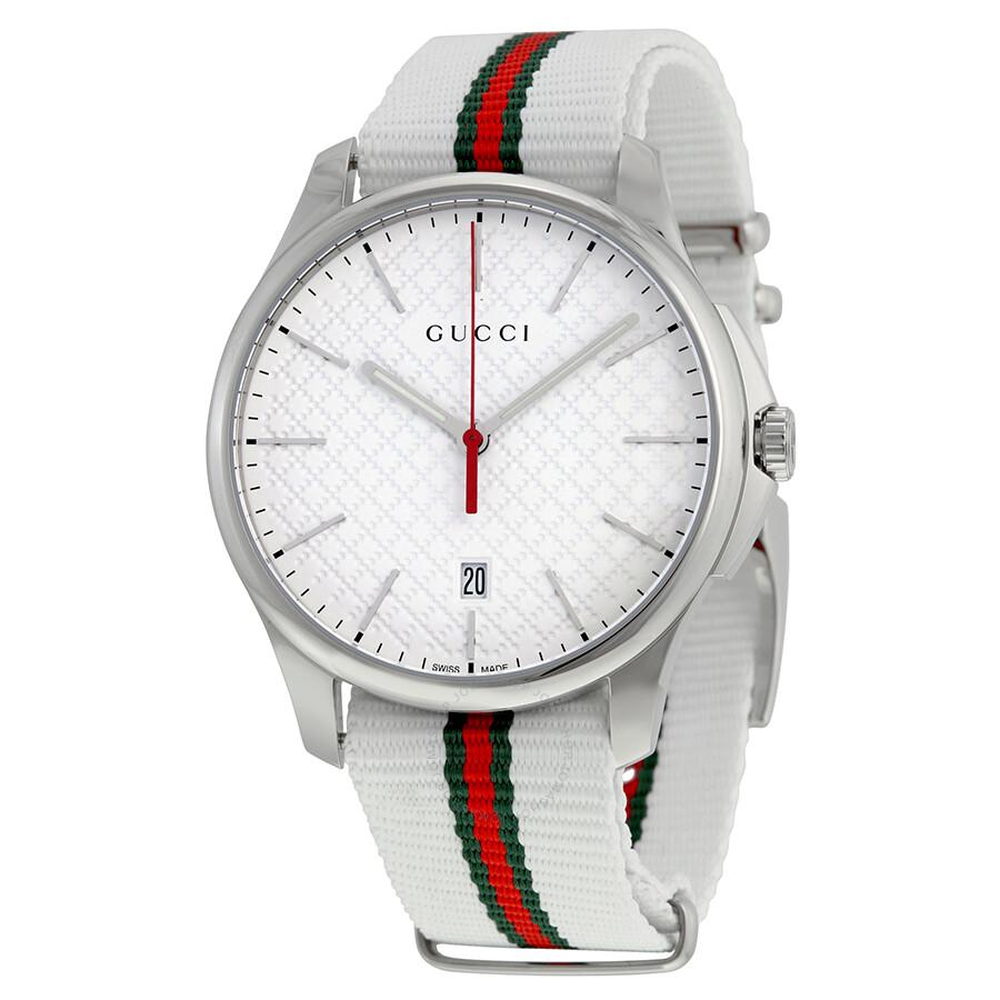 gucci gtimeless white dial striped nylon mens watch