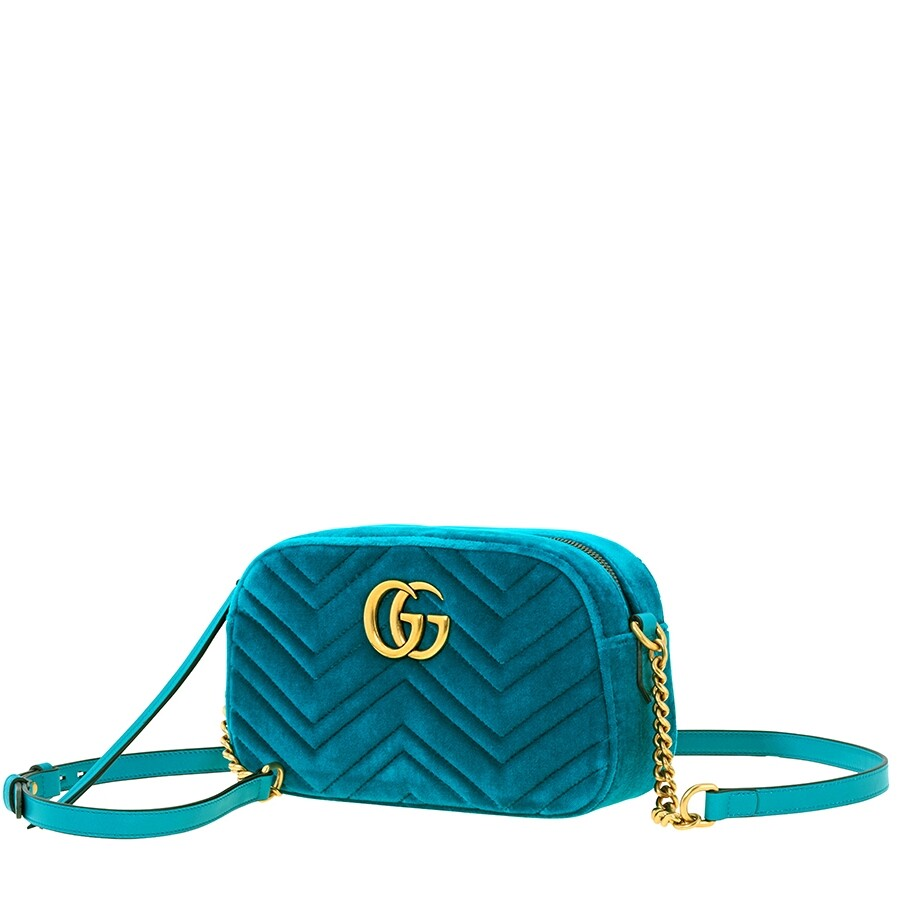 Gg Marmont Small Velvet Shoulder Bag   Turquoise by Gucci