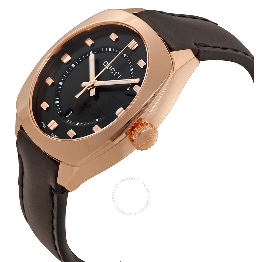 d0b962f40f9 Gucci GG2570 Black Dial Rose Gold-tone Men s Watch YA142309 - GG2570 ...