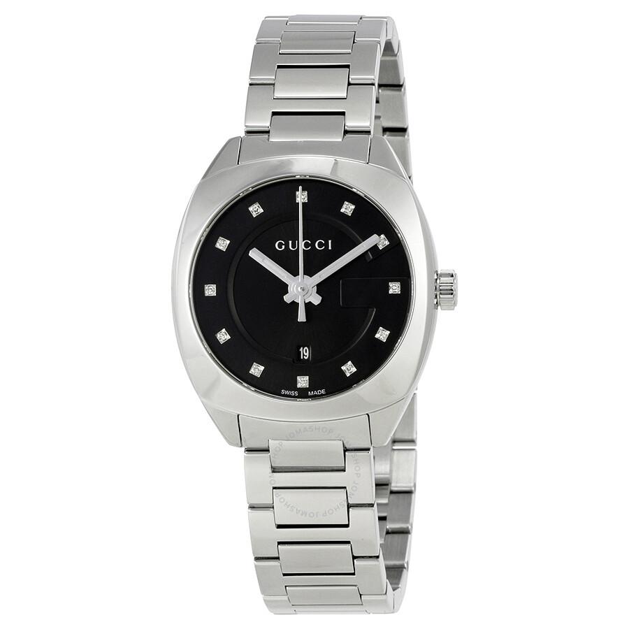 f9ff8d829a5 Gucci GG2570 Black Dial Stainless Steel Diamond Ladies Watch YA142503 ...