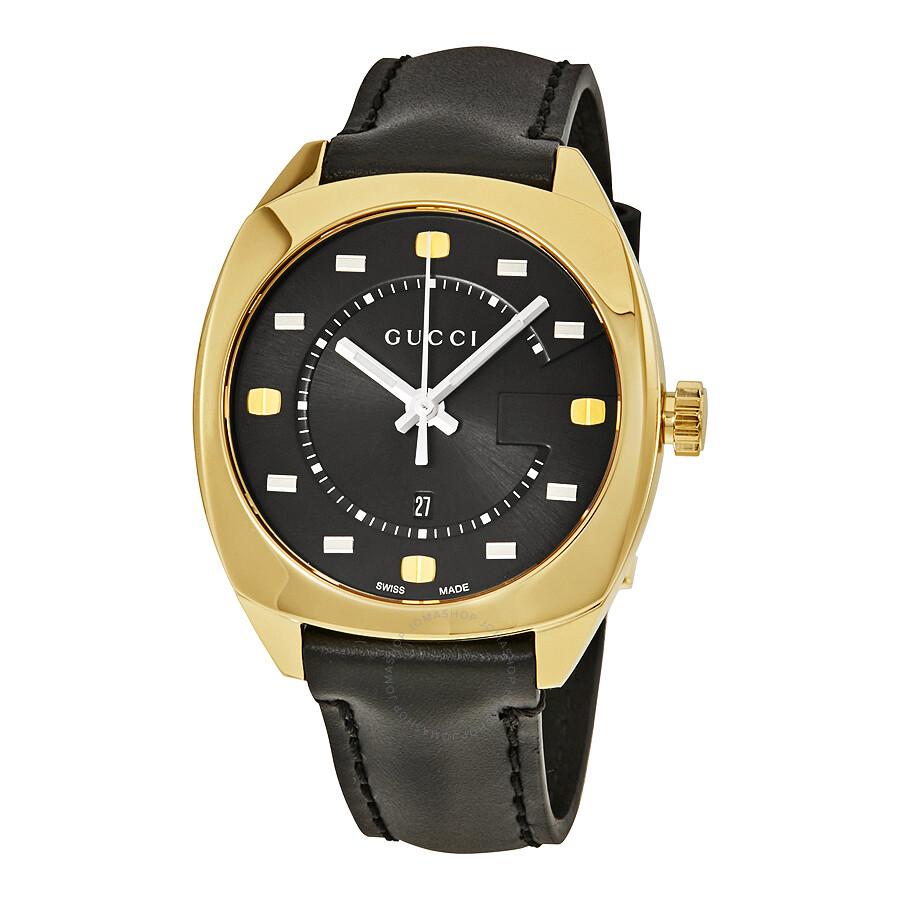 159d81a2031 Gucci GG2570 Black Dial Yellow Gold-Tone Ladies Watch YA142408 ...